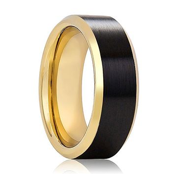JULIAN Black Brushed Men's Tungsten Wedding Band with Gold Beveled Edges & Interior - 8MM