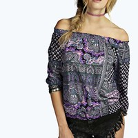 Lucy Paisley Printed Off The Shoulder Top