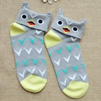 FunShop Woman's Zebra Bird and Cow Pattern Cotton Ankel Socks in 3 Colors Bird SK1030