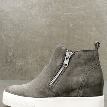 Wedgie Grey Suede Leather Hidden Wedge Sneakers