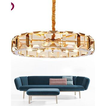 LED Gold Crystal Round Chandelier