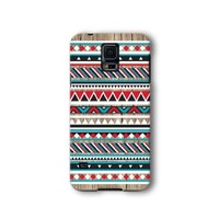 Samsung Galaxy S5 Case, Red and Blue Aztec Geometric on Wood Pattern 3d-sublimated, Mobile Accessories.