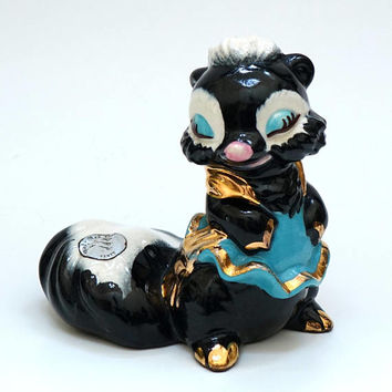 Ceramic Animal Figure, 1950's Skunk Figurine, Walker Potteries, Foothill Studio Line, Cute Girl Figure, Gift for Her, Ceramic Animal