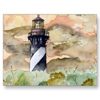 St Augustine Florida lighthouse painting Postcards from Zazzle.com