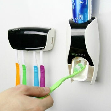 Automatic Toothpaste Dispenser and Tooth Brush Holder Set = 1946603396