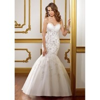 Organza Sweetheart  Mermaid Gown and Gathered Skirt with Chapel Train 2012 Strapless Wedding Dress - Basadress.com