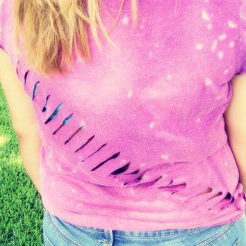 Purple Splatter Tee with Diagonal Slits