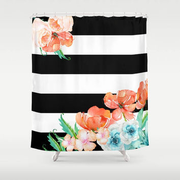 Floral Black and White Stripe - peach and mint - Chic Designer Decor  -  poppies, flowers, bold graphic design, bathroom, modern home, decor