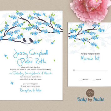 Spring Cherry Blossom Wedding Invitation Set Personalized | Floral Wedding Invitation Customized