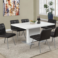 """Dining Chair - 2Pcs / 32""""H / Brown With Chrome Metal"""