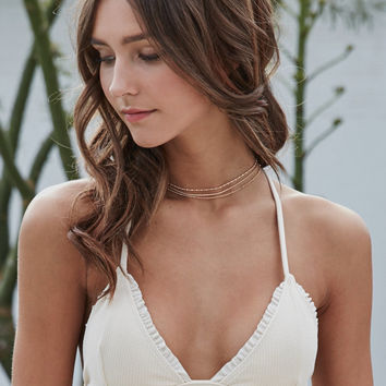 LA Hearts Ruffle Trim Fixed Triangle Bikini Top at PacSun.com