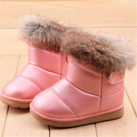 EU21-30 Winter Warm Wool Cloth With Soft Nap Of Rabbit Hair Fur Rubber Soles Children Snow Boots Kids Shoes For Girls Boots