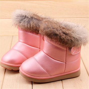 Girls Winter Boots Shoes with Fur.