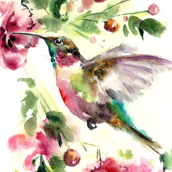 Bird Watercolor Painting Art Print - Bird Watercolor - Humming Bird - Bird Art - Watercolor Painting - Bird Illustration