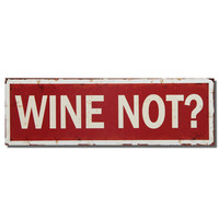 "Furnistar Decorative Wood Wall Hanging Sign Plaque ""Wine Not?"" Red White Home Decor"