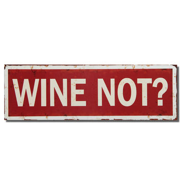 "Decorative Wood Wall Hanging Sign Plaque ""Wine Not?"" Red White Home Decor"