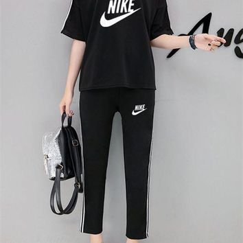"""Nike"" Women Casual Simple Letter Logo Print Stripe Short Sleeve Trousers Set Two-Piece Sportswear"