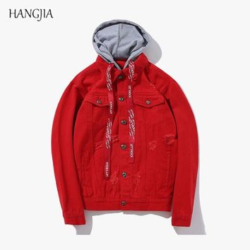 Trendy Solid Color Hooded Denim Jacket European and American High Street Trend Hole Ribbons Loose Washed Jackets Red / Black / Pink AT_94_13
