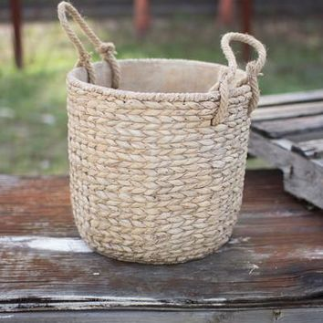 Large Braided Cement Planter With Jute Handles - Natural