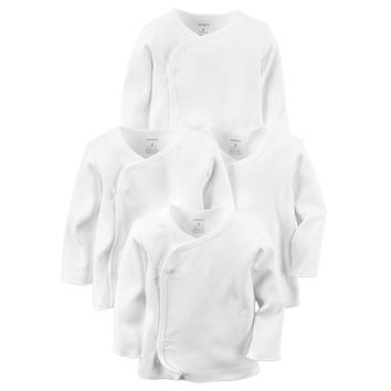 carter's® 4-Pack Long Sleeve Side-Snap T-Shirts in White
