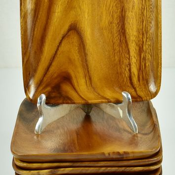 """Vintage 10"""" Monkey Pod Square Wood Plate Set of 10 - Hand Carved Beautiful!"""