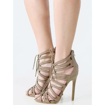 Cut Out Lace Up Caged High Heels TAUPE