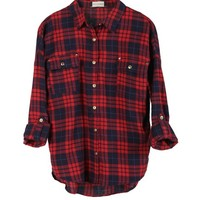 W Street Tartan Golden Button Woven Shirt