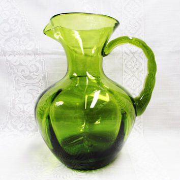 Hand Blown Green Pitcher | Heavy Glass | Avocado Green