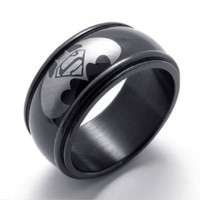 Simplicity Fashion Men's Jewelry Stainless Steel Batman Superman Ring