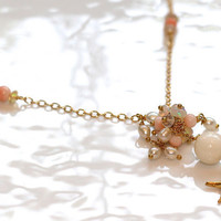 Angelskin Coral Freshwater Pearl Gold Vermeil Starfish Charm Ethiopian Opal Rolo Chain Cluster Necklace