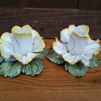 Vintage Ceramic Yellow Rose Candle Holders Set of 2