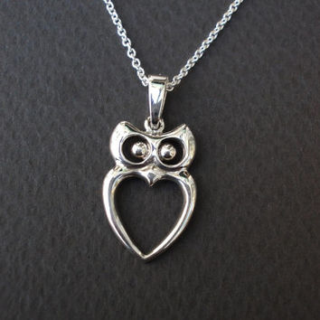 Silver Owl Necklace, Wedding Necklace, Bridesmaids Necklaces,Sterling Silver, Women Necklace,Whimsical Owl Pendant, Owl Jewelry,Owl Necklace