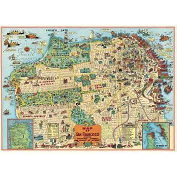 Cavallini San Francisco Map 2 Wrapping Paper
