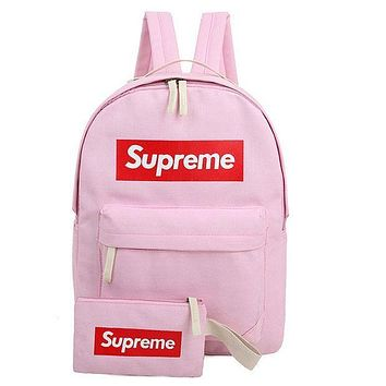 Supreme Fashion Unisex Leisure Letter Print Canvas Zipper Sport School Shoulder Bag Satchel Laptop Backpack Pink I