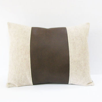 Vegan Leather Felt Pillow - Tan Brown Decorative Accent Pillow Cover - Christmas Gift