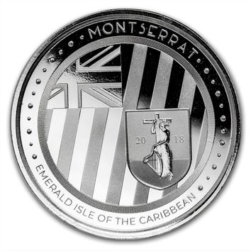 2018 Montserrat 1 oz Silver Emerald Isle of the Caribbean BU