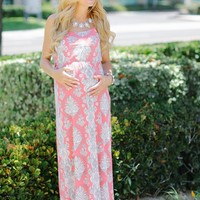 Pink White Paisley Printed Maternity Maxi Dress
