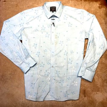 Baby Blue Floral Linen Button Up Shirt