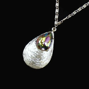 Vitrail Rhinestone Teardrop Pendant Necklace Silver Tone Made In Germany