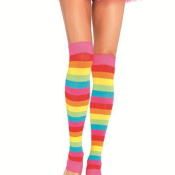 Rainbow leg warmers in MULTICOLOR