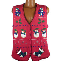Ugly Christmas Sweater Vintage 1980s Tacky Holiday Snowmen Cardigan Vest Party Women's size L