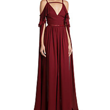 Elie Saab - Floor Length Silk Gown with Cut-Out Shoulders