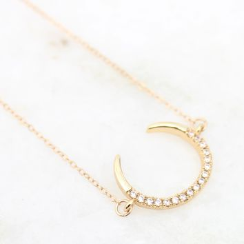 Cubic Zirconia Pave Crescent Moon 14K Gold Filled Collar Necklace