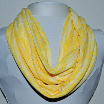 Yellow and White Light Weight Stretch Knit Infinity Scarf, Cowl Scarf, Ready to Ship