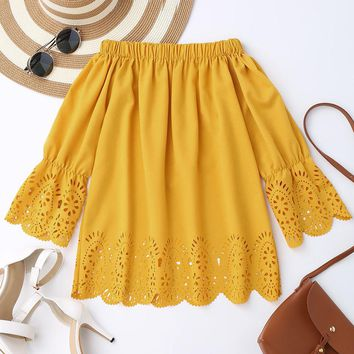 zaful Women Boho Blouses Off Shoulder Top Summer 3/4 Sleeve Crop Top Neckline Scallop Laser Cut Out Top Party Tops Shirt Blusa