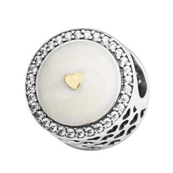 Fits for Pandora Charms Bracelets Precious Heart Beads with 14K Real Gold 100% 925 Ste
