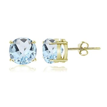 Gold Tone over Sterling Silver Blue Topaz 7mm Round Stud Earrings