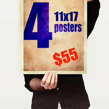 "Pick ANY 4 11""x17"" art prints from my shop for one low Price."