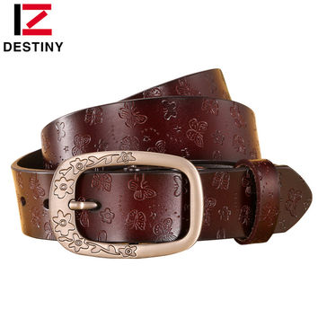 DESTINY Designer Belts Women High Quality Luxury Brand Genuine Leather Girls Ladies' Belt For Jeans Casual Vintage Flower White