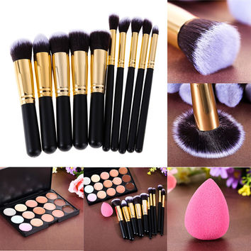 Free Shipping 15 Colors Concealer Palette+Makeup Foundation Sponge+ 10Pcs Mini Pro Makeup Best Price